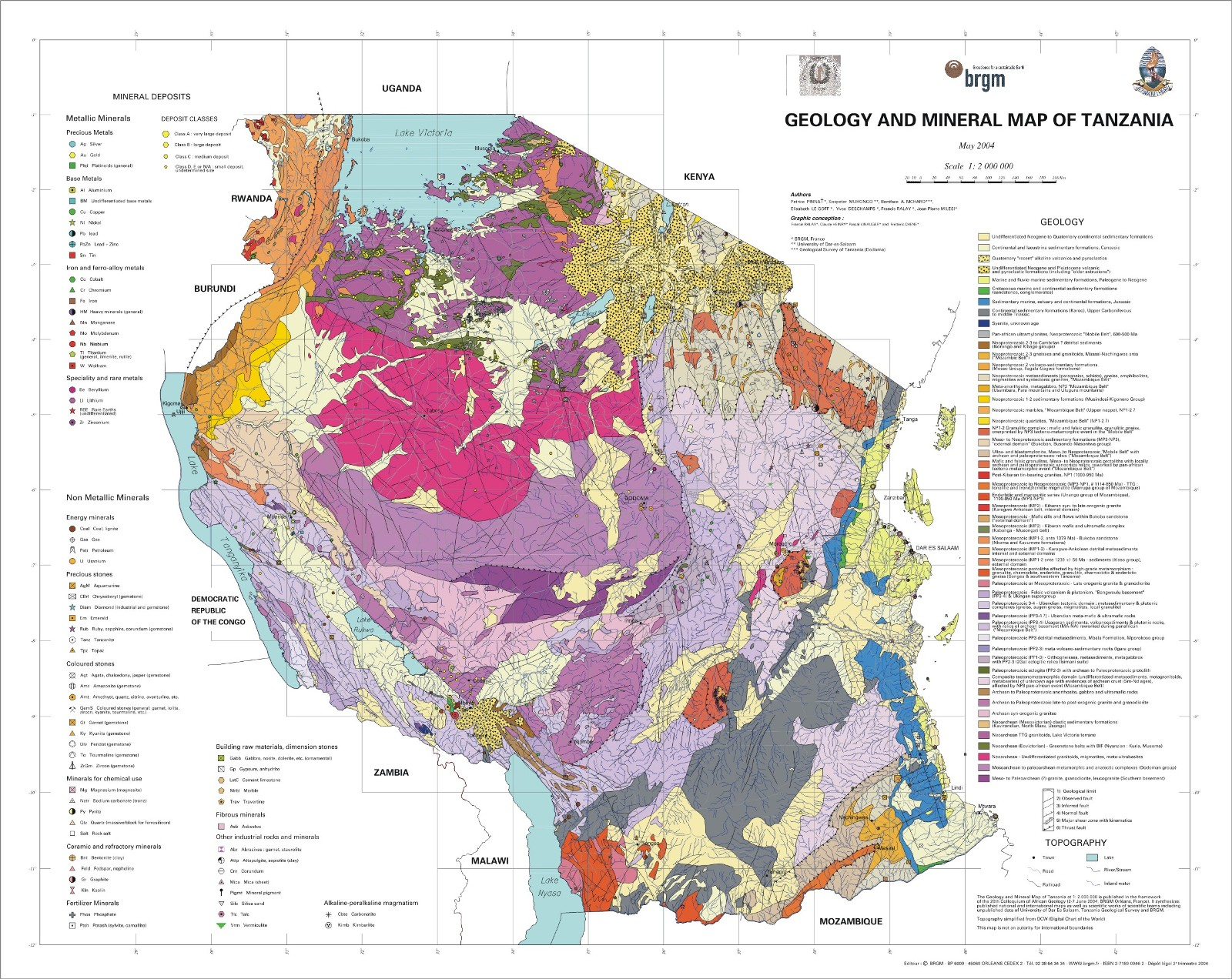 Geology And Mineral Map Of Tanzania Presposia - Map of tanzania